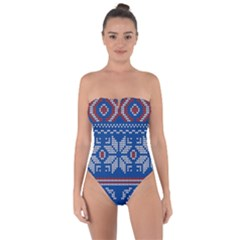 Beautiful Knitted Christmas Pattern Tie Back One Piece Swimsuit
