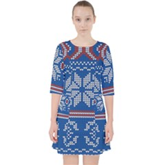 Beautiful Knitted Christmas Pattern Pocket Dress