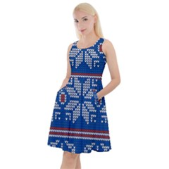 Beautiful Knitted Christmas Pattern Knee Length Skater Dress With Pockets