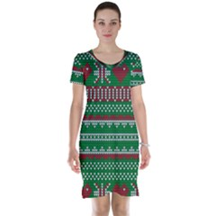 Knitted Christmas Pattern Green Red Short Sleeve Nightdress by Vaneshart