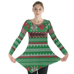Knitted Christmas Pattern Green Red Long Sleeve Tunic