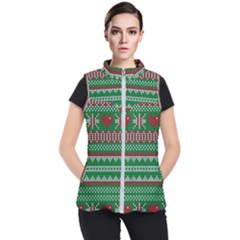 Knitted Christmas Pattern Green Red Women s Puffer Vest