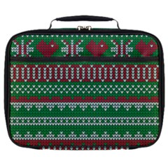 Knitted Christmas Pattern Green Red Full Print Lunch Bag