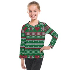 Knitted Christmas Pattern Green Red Kids  Long Mesh Tee