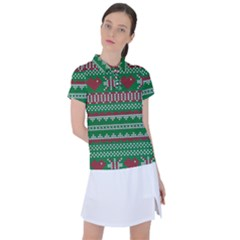 Knitted Christmas Pattern Green Red Women s Polo Tee