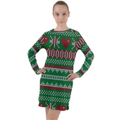 Knitted Christmas Pattern Green Red Long Sleeve Hoodie Dress