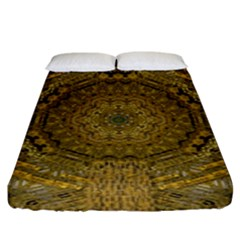 Golden Star And Starfall In The Sacred Starshine Fitted Sheet (king Size) by pepitasart