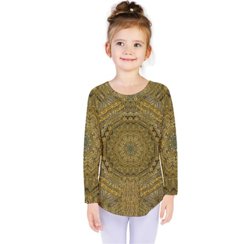 Golden Star And Starfall In The Sacred Starshine Kids  Long Sleeve Tee by pepitasart