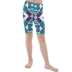 Teal And Plum Geometric Pattern Kids  Mid Length Swim Shorts by mccallacoulture