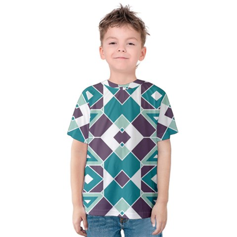 Teal And Plum Geometric Pattern Kids  Cotton Tee by mccallacoulture