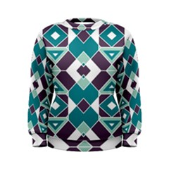 Teal And Plum Geometric Pattern Women s Sweatshirt by mccallacoulture