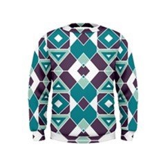 Teal And Plum Geometric Pattern Kids  Sweatshirt