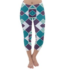 Teal And Plum Geometric Pattern Capri Winter Leggings  by mccallacoulture