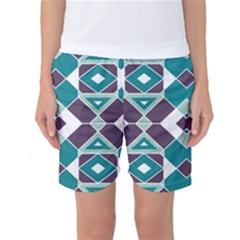 Teal And Plum Geometric Pattern Women s Basketball Shorts by mccallacoulture