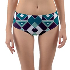 Teal And Plum Geometric Pattern Reversible Mid-waist Bikini Bottoms by mccallacoulture