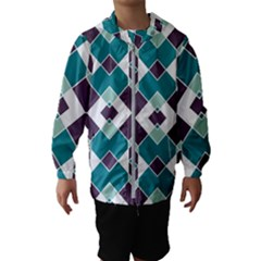 Teal And Plum Geometric Pattern Kids  Hooded Windbreaker by mccallacoulture