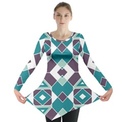 Teal And Plum Geometric Pattern Long Sleeve Tunic  by mccallacoulture