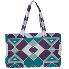 Teal And Plum Geometric Pattern Canvas Work Bag