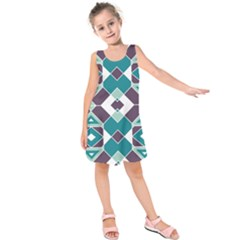 Teal And Plum Geometric Pattern Kids  Sleeveless Dress by mccallacoulture