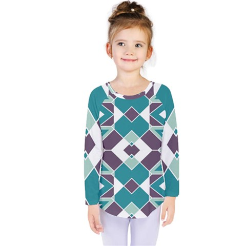 Teal And Plum Geometric Pattern Kids  Long Sleeve Tee by mccallacoulture