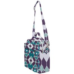Teal And Plum Geometric Pattern Crossbody Day Bag by mccallacoulture