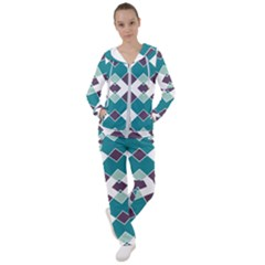 Teal And Plum Geometric Pattern Women s Tracksuit by mccallacoulture