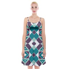 Teal And Plum Geometric Pattern Spaghetti Strap Velvet Dress by mccallacoulture