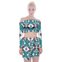 Teal And Plum Geometric Pattern Off Shoulder Top With Mini Skirt Set by mccallacoulture