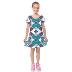 Teal And Plum Geometric Pattern Kids  Short Sleeve Velvet Dress by mccallacoulture