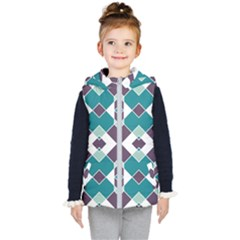 Teal And Plum Geometric Pattern Kids  Hooded Puffer Vest by mccallacoulture