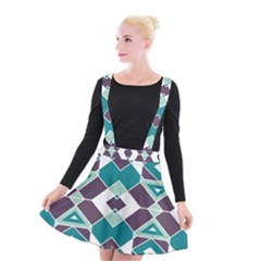 Teal And Plum Geometric Pattern Suspender Skater Skirt by mccallacoulture