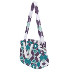 Teal And Plum Geometric Pattern Rope Handles Shoulder Strap Bag by mccallacoulture