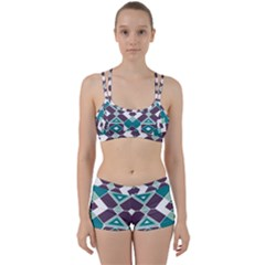 Teal And Plum Geometric Pattern Perfect Fit Gym Set by mccallacoulture