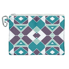 Teal And Plum Geometric Pattern Canvas Cosmetic Bag (xl) by mccallacoulture