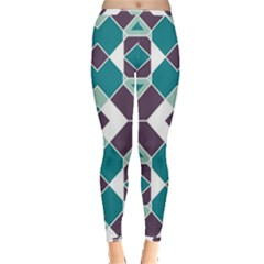 Teal And Plum Geometric Pattern Inside Out Leggings by mccallacoulture