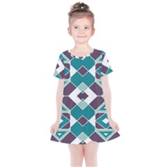 Teal And Plum Geometric Pattern Kids  Simple Cotton Dress by mccallacoulture