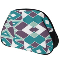Teal And Plum Geometric Pattern Full Print Accessory Pouch (big) by mccallacoulture