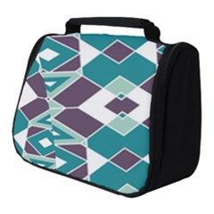 Teal And Plum Geometric Pattern Full Print Travel Pouch (small) by mccallacoulture