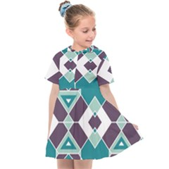 Teal And Plum Geometric Pattern Kids  Sailor Dress by mccallacoulture
