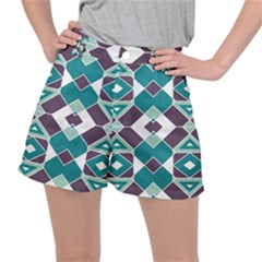 Teal And Plum Geometric Pattern Ripstop Shorts by mccallacoulture