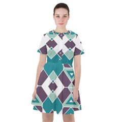 Teal And Plum Geometric Pattern Sailor Dress by mccallacoulture
