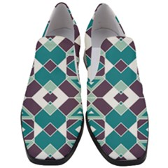 Teal And Plum Geometric Pattern Women Slip On Heel Loafers