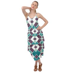 Teal And Plum Geometric Pattern Layered Bottom Dress
