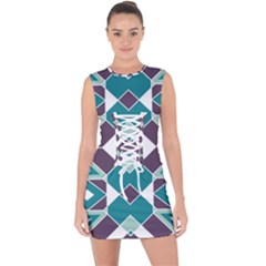 Teal And Plum Geometric Pattern Lace Up Front Bodycon Dress