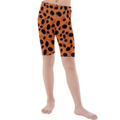 Orange Cheetah Animal Print Kids  Mid Length Swim Shorts by mccallacoulture
