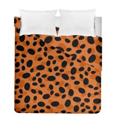 Orange Cheetah Animal Print Duvet Cover Double Side (full/ Double Size) by mccallacoulture