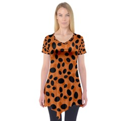 Orange Cheetah Animal Print Short Sleeve Tunic