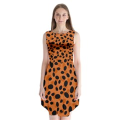 Orange Cheetah Animal Print Sleeveless Chiffon Dress