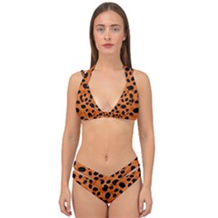 Orange Cheetah Animal Print Double Strap Halter Bikini Set