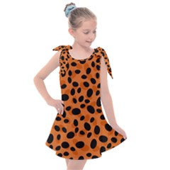 Orange Cheetah Animal Print Kids  Tie Up Tunic Dress